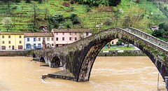 il ponte del diavolo (Franco Beccari) Tags: world city trip travel bridge blue red vacation italy white holiday black color colour green tourism nature water yellow architecture river photography nikon europe lucca tuscany nikkor diavolo toscany pontedeldiavolo d600 borgoamozzano