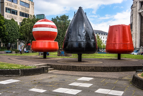 THREE BUOYS IN CATHEDRAL PAEK IN BELFAST [BUOY'S PARK]