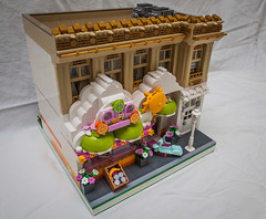Front of Cloud Juice Bar - MOC - Lego Modular - Town (C. Garison Photography) Tags: friends sun canon lego modular moc juicebar ef24mmf14l cloudcuckoo 5dmarkii