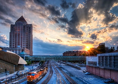 Rays and Rails Roanoke Sunset (Terry Aldhizer) Tags: city railroad train hotel downtown norfolk wells southern roanoke walkway terry rays fargo hdr taubman aldhizer terryaldhizercom