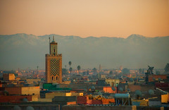 Marrakech dusk (Klas-Herman Lundgren) Tags: city sunset urban orange colors town time northafrica morocco marrakech stad tak solnedgng