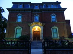 George Brown House At Blue Hour / Twilight .... Toronto, Ontario (Greg's Southern Ontario (catching Up Slowly)) Tags: sunset house toronto architecture twilight nikon dusk bluehour mansion georgebrown torontoarchitecture canadianarchitecture georgebrownhouse nikoncoolpixp510