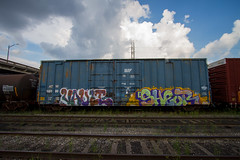 Vault x Shear (dogslobber) Tags: new art train bench graffiti orleans boxcar vault nola freight freights shear benched benching
