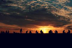 Relaxing (freyavev) Tags: sunset sky wall serbia belgrade sillhouettes fortress beograd srbija kalemegdan tvrdjava