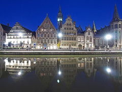 Ghent at Night (Tamas V) Tags: longexposure travel blue light reflection travelling tower history water night reflections river lights evening canal europa europe long european angle belgium wide smooth wideangle olympus historic canals belfry hour historical ft belgian bluehour traveling ultrawide ghent gent 43 omd graslei oly 918 uwa m43 mft em5 918mm