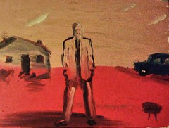 Grandfather, what little we knew of him (St. Burke) Tags: ip20140823 oil canvas painting red grandfather unknown suit sketch absent removed