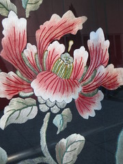 Peony Flower in Embroidery (shaire productions) Tags: pink flower art floral beauty asian asia gallery pattern image display artistic embroidery style peony textile creation oriental cultural imagery thead