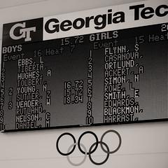 3rd in his freestyle heat (veader) Tags: bw swim georgia square team tech g finals georgiatech scoreboard 1x1 swimteam