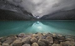 Lake Louise (Camera_Shy.) Tags: park trees lake canada mountains clouds creek landscape rockies rocks mt cloudy turquoise rocky victoria glacier mount louise national alberta banff fay whyte farview lefroy