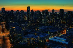 Vancouver at dusk (beyondhue) Tags: sunset sky canada building architecture vancouver downtown bc dusk horizon columbia british beyondhue