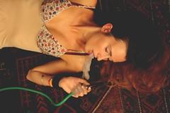 Peace and Narghil (Mononoke hime ) Tags: red portrait people girl beautiful carpet smoke narghil
