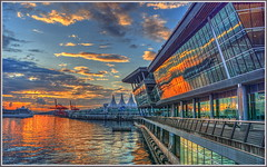 Cruise Ship Reflection (tdlucas5000) Tags: cruise canada reflection vancouver sunrise ship double tone hdr mapped brittishcolumbia