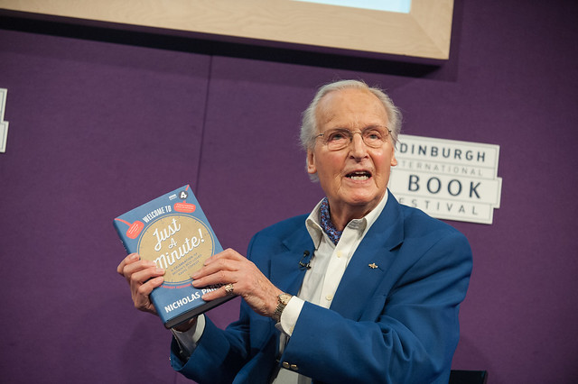 Nicholas Parsons with his new book about the legendary BBC Radio 4 show Just a Minute