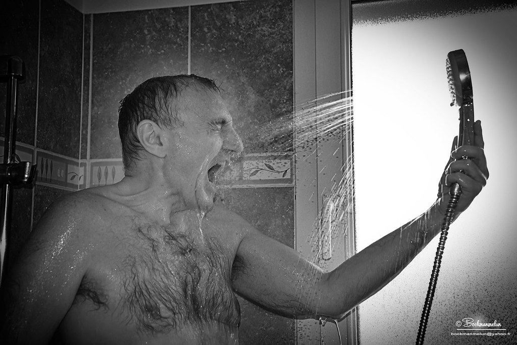 Hairy mature at shower