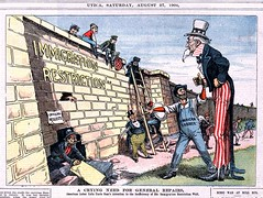 A Crying Need for General Repairs - American Labor Calls Uncle Sam's Attention to the inefficiency of His Immigration Restricion Wall (1904) (swanksalot) Tags: comic editorialcartoon 1904 immigration officialneglect