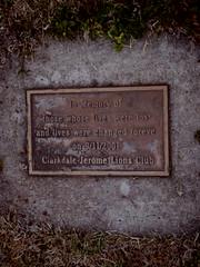 tree planted in memory of 9/11/2001 (EllenJo) Tags: dogwalk clarkdale march1 2017 pentaxqs1 mytown ellenjo 911 clarkdalejeromelionsclub treeplanted inmemoryof plaque sign clarkdalepark