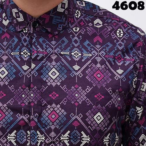 4608 Long Purple Batik Songket M,L Detail