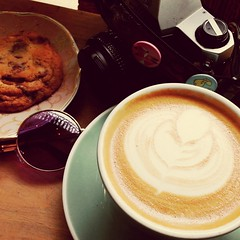 Last Montreal Latte (Georgie_grrl) Tags: caffeine yum cookie triplechocolate pentaxk1000 sunglasses shades lunchbreak montreal quebec lepetitdep cafe coffeehouse ruesaintepaulouest