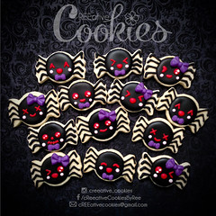 MiniHalloween_Spiders (cREEative_Cookies) Tags: creeatve cookies ree halloween hallows dia delos muertos candy skulls typography sugar art decorated cookie decorating party theme desserts holiday dessert zombie eyeball nightmare before christmas jack skellington sandy cupcakes spiders pumpkins jackolanterns leaves platter ghosts corn bats blood bloody cut finger ears butcher 3d