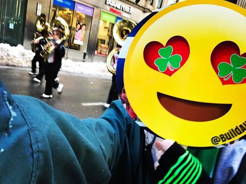 Happy to hear #Tuba #Tubas playing in the #NewYorkCity #SaintPatricksDayParade #IrishMusic #MarchingBand #Trumpets #Green #shamrock #happyface #happyface😊