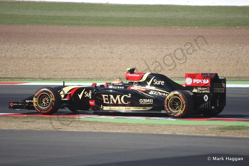 Pastor Maldonado in his Lotus during Free Practice 1 at the 2014 British Grand Prix