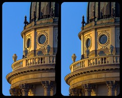 French Cathedral, Berlin 3D ::: DRi Hyperstereophotography (Stereotron) Tags: 3d 3dphoto 3dstereo 3rddimension spatial stereo stereo3d stereophoto stereophotography stereoscopic stereoscopy stereotron threedimensional stereoview stereophotomaker stereophotograph 3dpicture 3dglasses 3dimage crosseye crosseyed crossview xview cross eye pair freeview sidebyside sbs kreuzblick hyperstereo canon eos 550d chacha singlelens sigma zoom lens 70300mm tonemapping hdr hdri raw cr2 availablelight europe germany berlin spreeathen mitte metropole hauptstadt capital metropolis brandenburg city urban französischerdom gendarmenmarkt altemitte 3dframe fancyframe floatingwindow spatialframe stereowindow window quietearth architecture baroque barock antiquated 100v10f