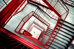 Down and Lost (Sky Noir) Tags: red white square spiral steps stairway staircase smv