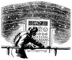 Radio waves (Tom Simpson) Tags: blackandwhite illustration vintage sketch scifi sciencefiction 1949 controlpanel astoundingsciencefiction seeteeshock paulorban