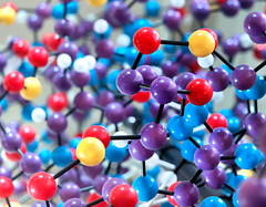 molecular bonds (Sky Noir) Tags: blue red colors yellow model dof purple science depthoffield bonds biological chemical scientific molecular skynoir