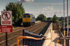 On hire to GBRf, Class 47/8 no 47843 on route learning duties at Mansfield Station on 30-06-2014 (kevaruka) Tags: uk greatbritain england sun sunshine june composition train canon flickr unitedkingdom bokeh trains frontpage robinhood britishrail nottinghamshire sunnyday mansfield 2014 135l class47 brblue 47843 gbrf robinhoodline canonef135f2l mansfieldstation canoneos5dmk3