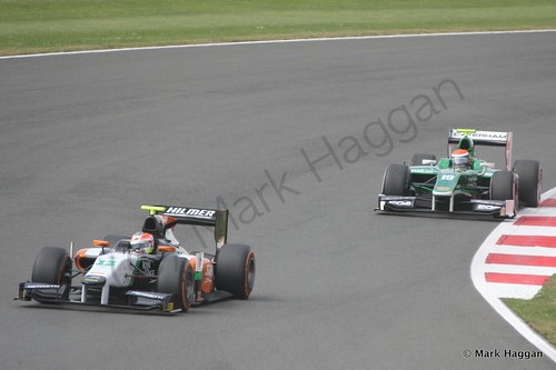Alexander Rossi and Jon Lancaster during the first GP2 race at the 2014 British Grand Prix weekend