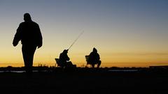 FISHERMEN (fabio lf petry) Tags: winter sunset sky orange lake silhouette puddle la