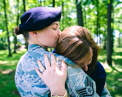 . (B R A N D) Tags: wedding ohio hk chicago green forest canon army 50mm engagement illinois kiss uniform military 28mm ring toledo lgbt 7d airforce engaged brand 30d mrbluesky krisbrand