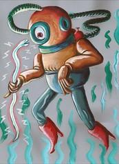 Diver (Steven Peebles) Tags: sea seaweed eye electric painting acrylic deep peebles eyeball diver steven eel