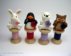 Little Sewing Creatures (QuernusCrafts) Tags: bear cute bunny thread penguin buttons sewing polymerclay owl polar needles cottonreel quernuscrafts sewingcreatures