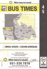 Merseytravel (Wirral) Timetable Route #4, 5 (From 9th May 1994) (Luke O'Rourke) Tags: merseytravel wirral timetable bus mersey birkenhead portsunlight westkirby newbrighton bidston merseybus lairdstreet