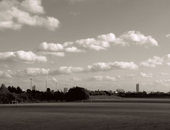 (Shan B.) Tags: city sky bw white black skyline clouds buildings manchester mono greyscale