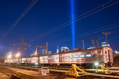 Lights from the Pullman Yard (sullivan1985) Tags: newyorkcity night worldtradecenter 911 september september11 hoboken towersoflight tributeinlight