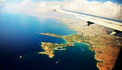 Vouliagmeni from top (free3yourmind) Tags: blue sea water plane airplane coast flight athens greece vouliagmeni asteras