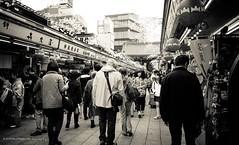 Nakamise-dori ( ) Tags: street people monochrome japan tokyo nikon market outdoor nikkor nakamise d5000