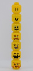 Good moustache style 👨! (Alex THELEGOFAN) Tags: lego legography minifigures minifigure minifig minifigs minifigurine minifigurines head 7 heads headz moustache stache dark orange black bushy curled pointed brown medium curly long thick large yellow city