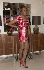 A Shiny Leg Show! (kaceycd) Tags: crossdress tg tgirl lycra spandex polkadot minidress pantyhose platino cleancut 15denier sandals peeptoesandals opentoesandals highheels stilettosandals stilettoheels sexysandals stilettos s