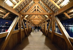 Inside the Chapel Bridge (jpellgen) Tags: travel bridge summer vacation architecture switzerland nikon europe european swiss luzern august tamron lucerne lucern chapelbridge 2014 kapellbrcke 18200mm d5100