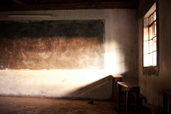 school's out (Andy Kennelly) Tags: africa school light window bench out classroom dirt schools chalkboard