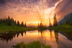 Final Fight (circleyq) Tags: park light sunset mountain lake reflection landscape ray mt bea