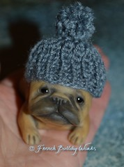 because it's cold outside :) (French Bulldog Works) Tags: sculpture dog puppy french fawn frenchie frenchbulldog figurine bmf blackmask frenchbulldogart frenchbulldogworks
