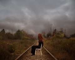 Bound (Patty Maher) Tags: selfportrait traintracks surreal conceptual bound whitechair pagespattymaherphotography325154774162586skpagegettingstarted itsoktorefavoritebeautifulones notreallyboundbecausethatwouldbefoolishwhensittingontraintracks