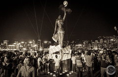 For Country (IWCphoto) Tags: people film water fashion statue stone architecture night river ceramic stars asian lights evening pier seaside globe crowd towers protest hong kong lasers highrise nightlife marble avenue phones clapper pedestal