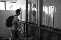 (7 w d) Tags: boy bw hk man hongkong mirror blackwhite ruins looking sony 14 sigma toilet alpha 35 ff a7 mirrow ruined urbex 7wd
