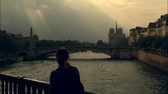 Notre Dame de Paris ~   MjYj (MjYj ~ IamJ) Tags: light sunset woman sun paris texture seine soleil solitude time femme stlouis pont eden temps tones reflets notredamedeparis ville mania iphone tournelle tourdargent henriiv stegenevive mjyj mjyj photo280725